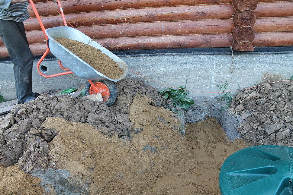 Отсыпка песком проектных уровней